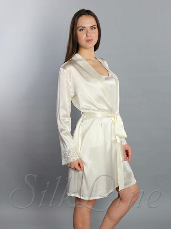 Женский шелковый халат кремовый SL-1 короткий