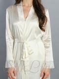 Женский шелковый халат короткий кремовый SL-1-02