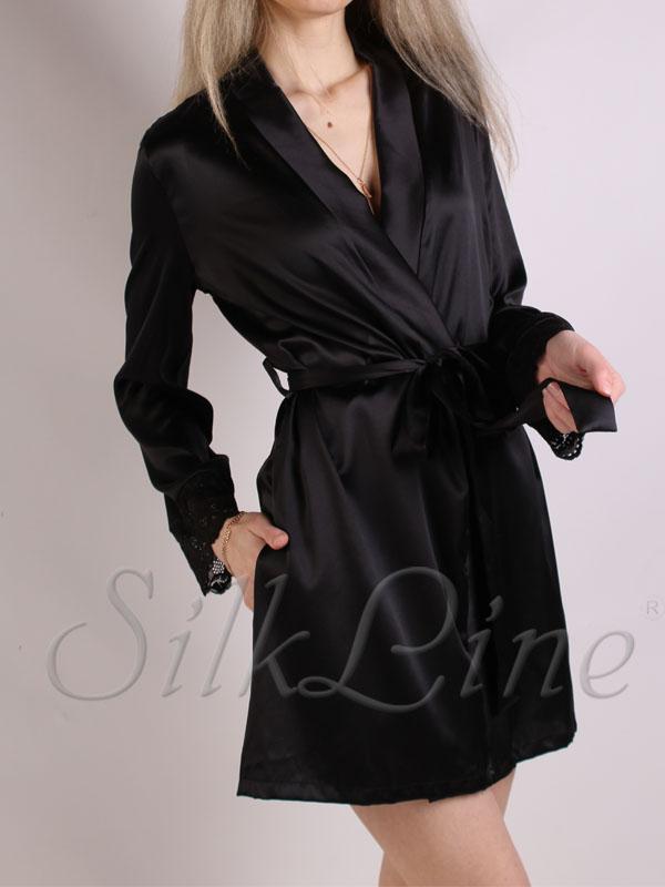 Шелковый халат женский черный короткий SL-1
