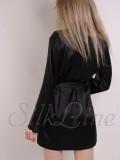 Шелковый халат женский короткий черный SL-1 SilkLine.com.ua
