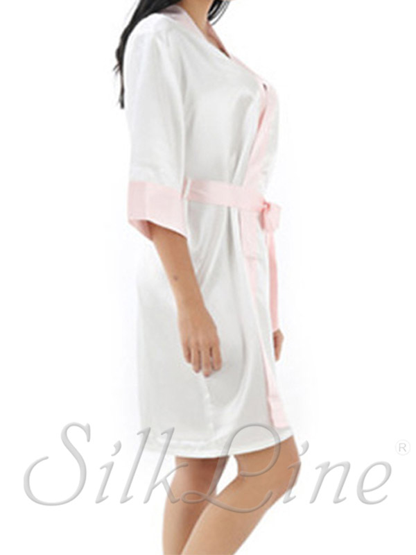 Білий шовковий халат жіночий купити недорого. Доставка 995abdc41a6e9