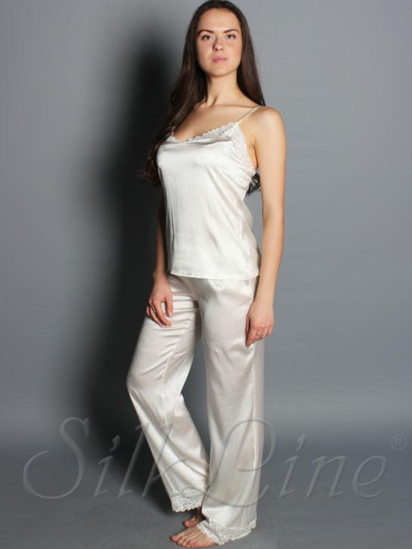 Купити жіночу шовкову піжаму з майкою і брюками недорого 9f1707029144f