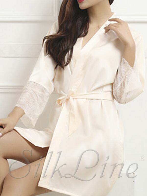 Женский шелковый халат кремовый SL-2