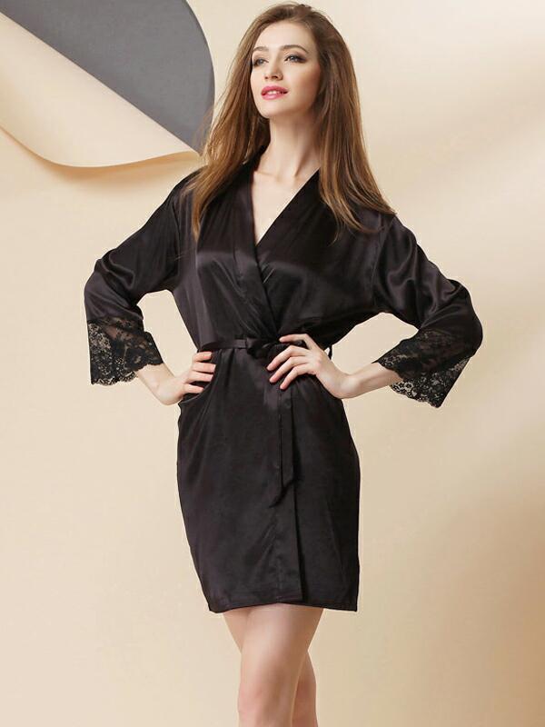 Шелковый халат женский черный короткий SL-2