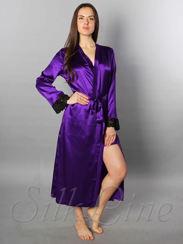 Купить длинный шелковый халат недорого цвета Аметист 4c297bc21d134