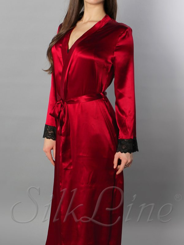 Купить женский шелковый халат недорого красного цвета с доставкой 8e0b5f68b1d3a