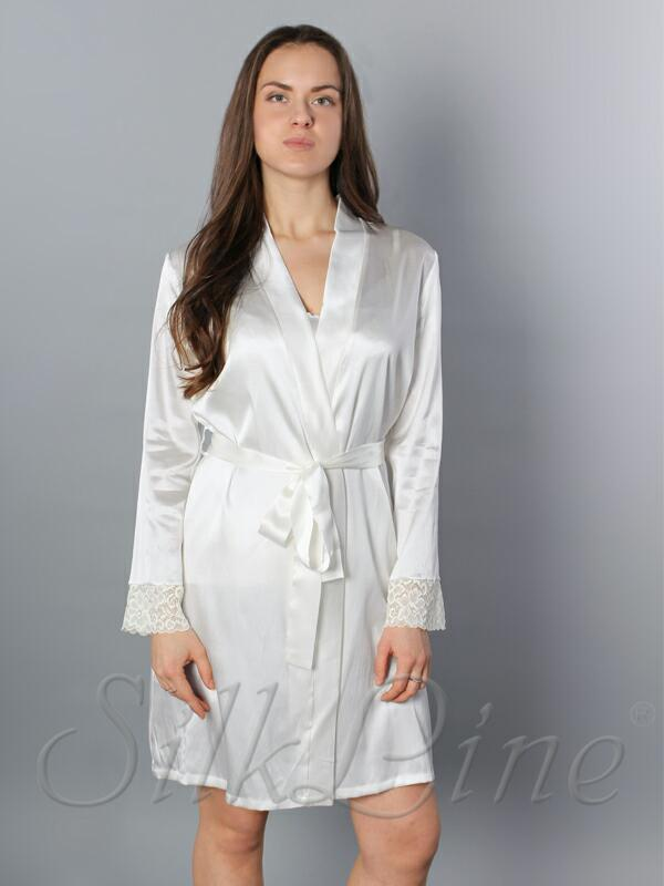 Шелковый халат короткий SL-1