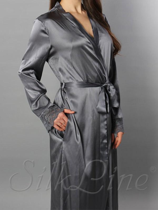 Шелковый халат длинный SL-14