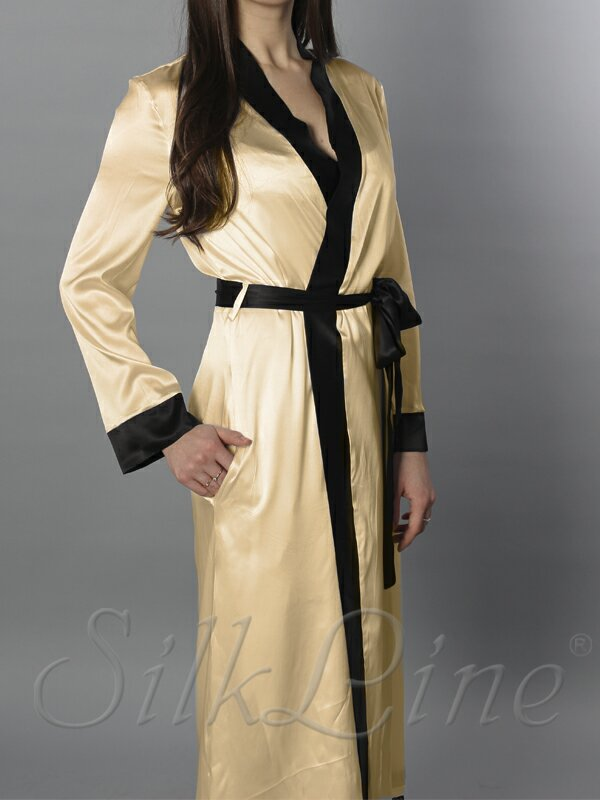 Шелковый халат длинный SL-6