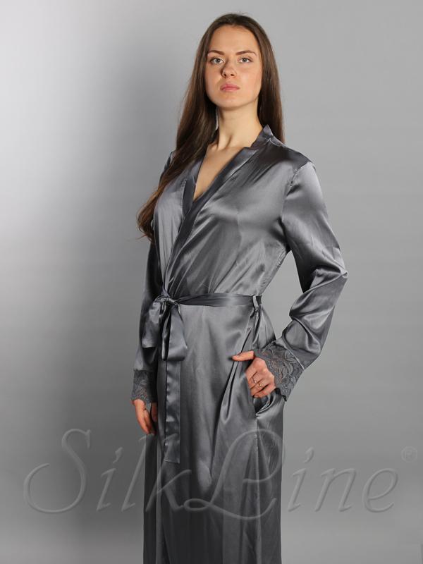 Шелковый халат длинный SL-7